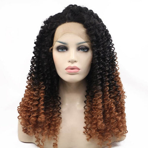 ITYMAHAIR Black to Brown Ombre Curly Synthetic Lace Front Wig-IACURLY02-01