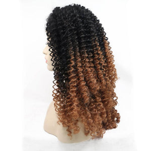 ITYMAHAIR Black to Brown Ombre Curly Synthetic Lace Front Wig-IACURLY02-02