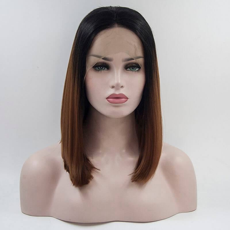 ITYMAHAIR Black to Brown Ombre Straight Bob Synthetic Lace Front Wig-IABOB10-01