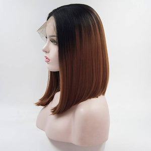 ITYMAHAIR Black to Brown Ombre Straight Bob Synthetic Lace Front Wig-IABOB10-02