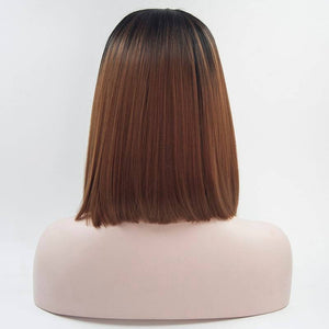 ITYMAHAIR Black to Brown Ombre Straight Bob Synthetic Lace Front Wig-IABOB10-03