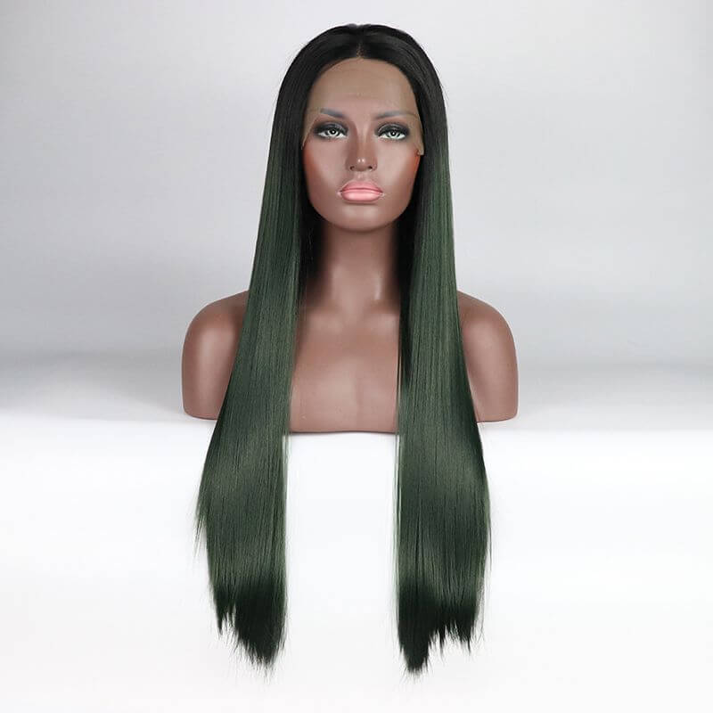 ITYMAHAIR Black to Dark Green Ombre Straight Long Synthetic Lace Front Wig-IALONG16-01