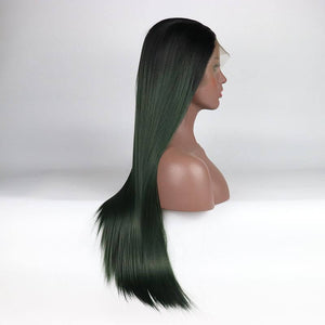 ITYMAHAIR Black to Dark Green Ombre Straight Long Synthetic Lace Front Wig-IALONG16-02