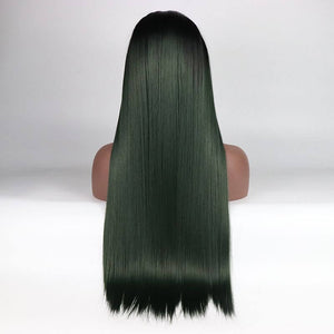 ITYMAHAIR Black to Dark Green Ombre Straight Long Synthetic Lace Front Wig-IALONG16-04