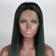 Load image into Gallery viewer, ITYMAHAIR Black to Dark Green Ombre Straight Long Synthetic Lace Front Wig-IALONG16-05