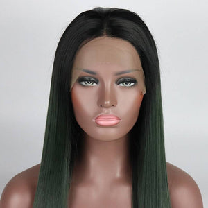 ITYMAHAIR Black to Dark Green Ombre Straight Long Synthetic Lace Front Wig-IALONG16-05