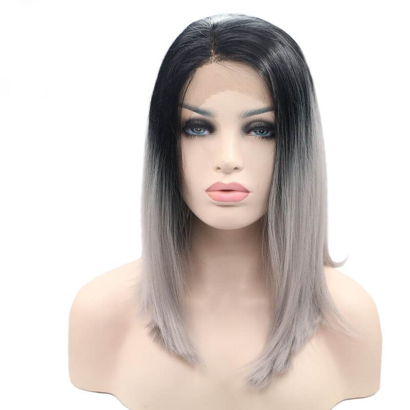 ITYMAHAIR Black to Gray Ombre Straight Bob Synthetic Lace Front Wig-IABOB09