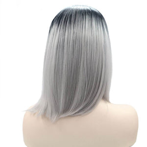 ITYMAHAIR Black to Gray Ombre Straight Bob Synthetic Lace Front Wig-IABOB09-03