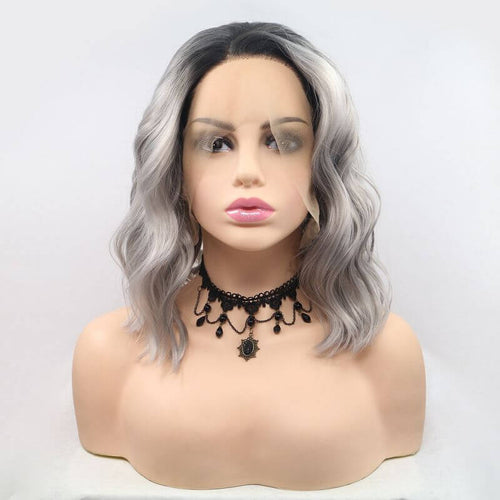 ITYMAHAIR Black to Gray Ombre Wavy Bob Synthetic Lace Front Wig-IABOB20-01