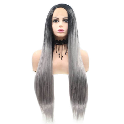 ITYMAHAIR Black to Grey Ombre Straight Long Synthetic Lace Front Wig-IALONG10-01