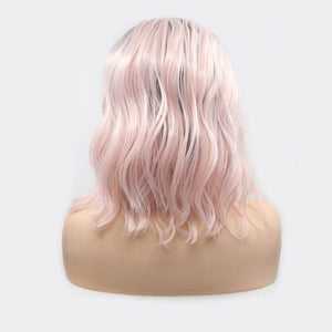 ITYMAHAIR Black to Light Pink Ombre Wavy Bob Synthetic Lace Front Wig-IABOB19-03
