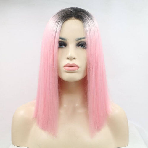 ITYMAHAIR Black to Pink Ombre Straight Bob Synthetic Lace Front Wig-IABOB01-01
