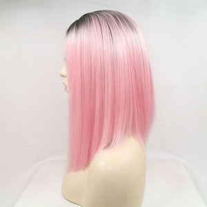 ITYMAHAIR Black to Pink Ombre Straight Bob Synthetic Lace Front Wig-IABOB01-02