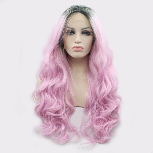 ITYMAHAIR Black to Pink Ombre Wavy Long Synthetic Lace Front Wig-IALONG36-01