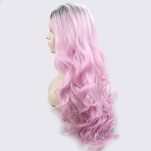 ITYMAHAIR Black to Pink Ombre Wavy Long Synthetic Lace Front Wig-IALONG36-02