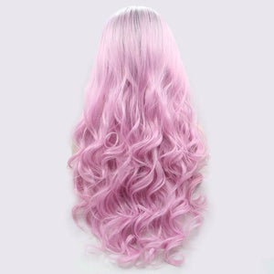 ITYMAHAIR Black to Pink Ombre Wavy Long Synthetic Lace Front Wig-IALONG36-03