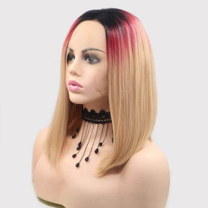 ITYMAHAIR Black to Red to Blonde Three-Color Straight Bob Synthetic Lace Front Wig-IABOB02-02
