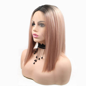 ITYMAHAIR Black to Rose Gold Ombre Straight Bob Synthetic Lace Front Wig-IABOB16-02