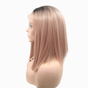 ITYMAHAIR Black to Rose Gold Ombre Straight Bob Synthetic Lace Front Wig-IABOB16-03