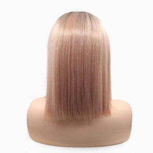 ITYMAHAIR Black to Rose Gold Ombre Straight Bob Synthetic Lace Front Wig-IABOB16-04
