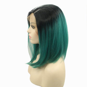 ITYMAHAIR Black to Teal Ombre Straight Bob Synthetic Lace Front Wig-IABOB21-02