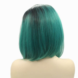 ITYMAHAIR Black to Teal Ombre Straight Bob Synthetic Lace Front Wig-IABOB21-03