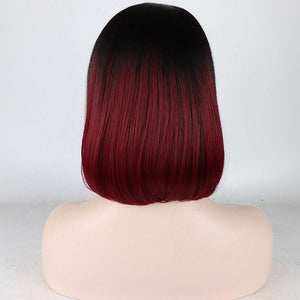 ITYMAHAIR Black to Wine Red Ombre Straight Bob Short Synthetic Lace Front Wig with Bangs-IABOB05-04
