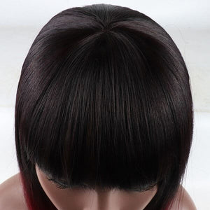 ITYMAHAIR Black to Wine Red Ombre Straight Bob Short Synthetic Lace Front Wig with Bangs-IABOB05-05