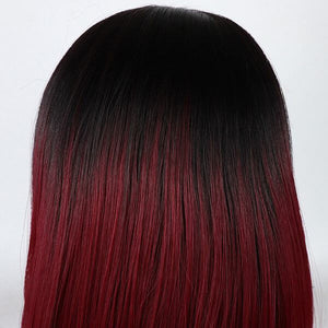 ITYMAHAIR Black to Wine Red Ombre Straight Bob Short Synthetic Lace Front Wig with Bangs-IABOB05-06