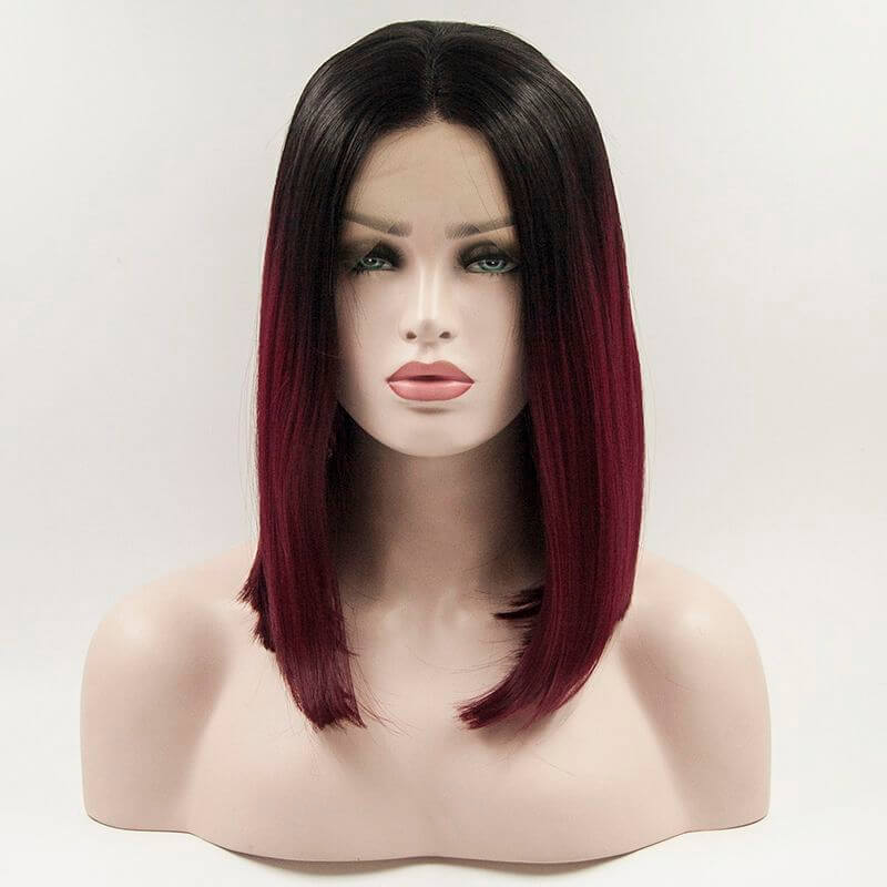 ITYMAHAIR Black to Wine Red Ombre Straight Bob Synthetic Lace Front Wig-IABOB12-01