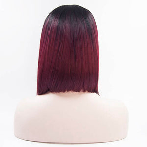 ITYMAHAIR Black to Wine Red Ombre Straight Bob Synthetic Lace Front Wig-IABOB12-03