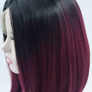 ITYMAHAIR Black to Wine Red Ombre Straight Bob Synthetic Lace Front Wig-IABOB12-04