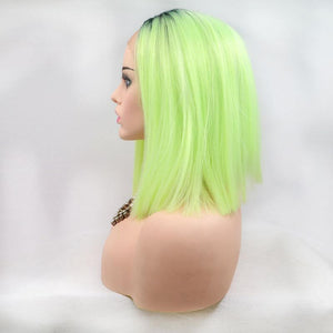ITYMAHAIR Black to Yellow Green Ombre Straight Bob Synthetic Lace Front Wig-IABOB08-03