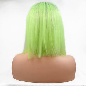 ITYMAHAIR Black to Yellow Green Ombre Straight Bob Synthetic Lace Front Wig-IABOB08-04