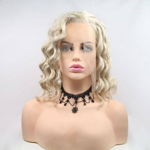 ITYMAHAIR Blonde Loose Curly Bob Synthetic Lace Front Wig with Side Bangs-IABOB26-01