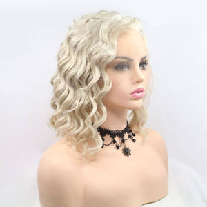 ITYMAHAIR Blonde Loose Curly Bob Synthetic Lace Front Wig with Side Bangs-IABOB26-03