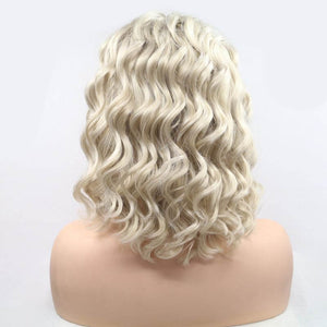 ITYMAHAIR Blonde Loose Curly Bob Synthetic Lace Front Wig with Side Bangs-IABOB26-04