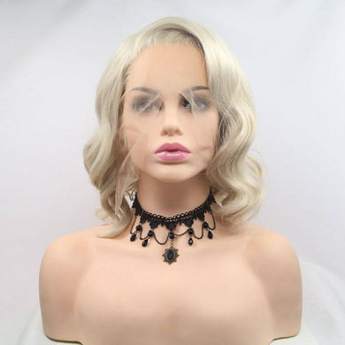ITYMAHAIR Blonde Wavy Bob Short Synthetic Lace Front Wig with Side Bangs-IABOB22-01