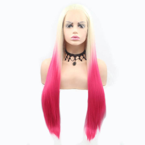 ITYMAHAIR Blonde to Hot Pink Ombre Straight Long Synthetic Lace Front Wig-IALONG29-01