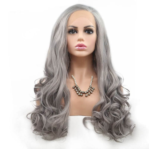 ITYMAHAIR Gray Wavy Long Synthetic Lace Front Wig-IALONG31-01