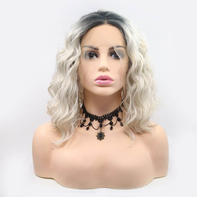 ITYMAHAIR Gray to Blonde Ombre Wavy Bob Synthetic Lace Front Wig-IABOB28-01