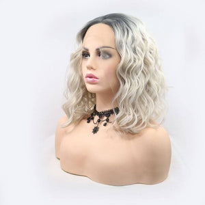 ITYMAHAIR Gray to Blonde Ombre Wavy Bob Synthetic Lace Front Wig-IABOB28-02