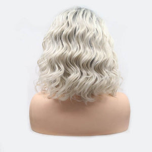 ITYMAHAIR Gray to Blonde Ombre Wavy Bob Synthetic Lace Front Wig-IABOB28-04