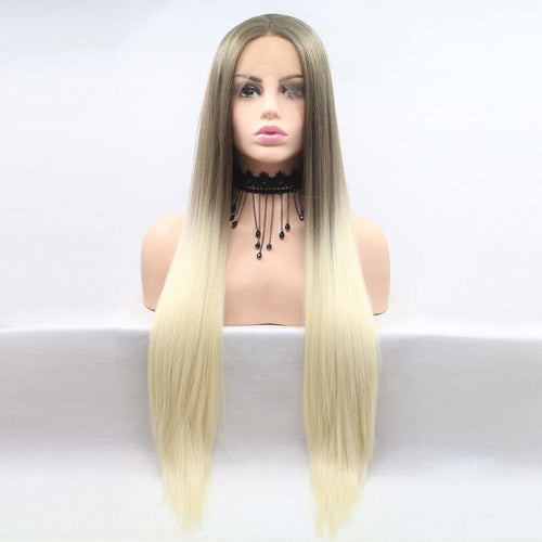 ITYMAHAIR Grayish Brown to Blonde Ombre Straight Long Synthetic Lace Front Wig-IALONG27-01