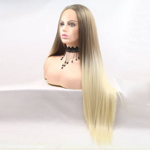 ITYMAHAIR Grayish Brown to Blonde Ombre Straight Long Synthetic Lace Front Wig-IALONG27-02