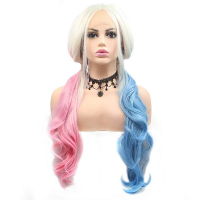 ITYMAHAIR Harley Quinn Inspired Blonde to Half Pink and Half Blue Three-Color Wavy Long Synthetic Lace Front Wig-IALONG35-01