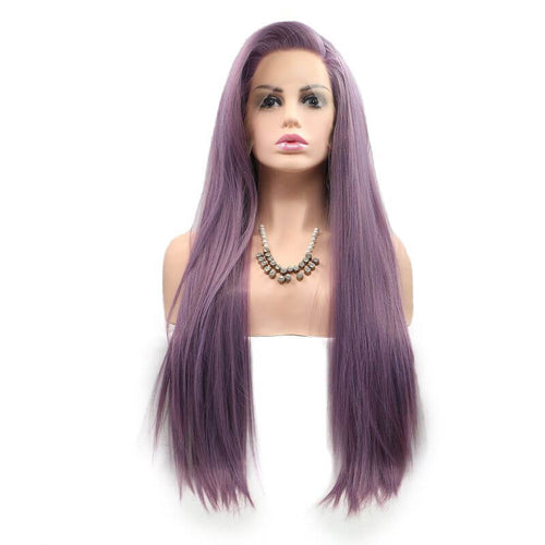 ITYMAHAIR Light Purple Straight Long Synthetic Lace Front Wig-IALONG34-01