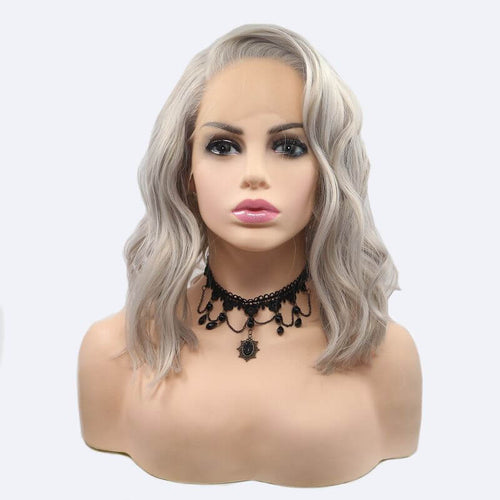ITYMAHAIR Mixed Gray Wavy Bob Synthetic Lace Front Wig with Side Bangs-IABOB18-01
