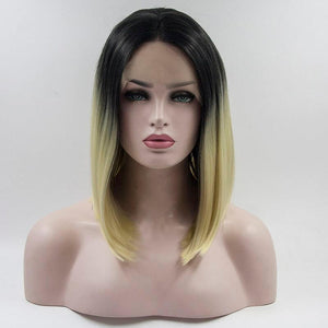 ITYMAHAIR Off Black to Platinum Blonde Ombre Straight Bob Synthetic Lace Front Wig-IABOB11-01