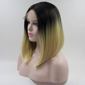 ITYMAHAIR Off Black to Platinum Blonde Ombre Straight Bob Synthetic Lace Front Wig-IABOB11-02